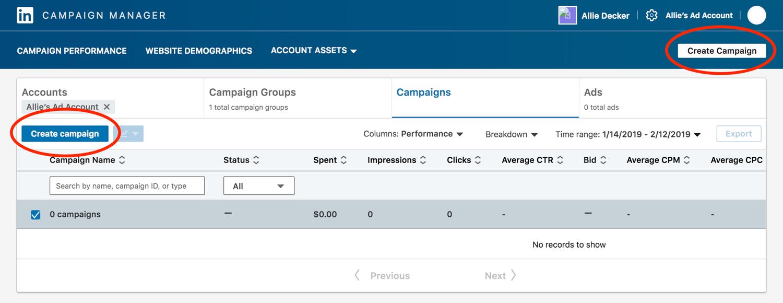 linkedin create campaign