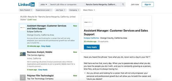LinkedIn's job board, which you can use to filter by experience, job type, and company.