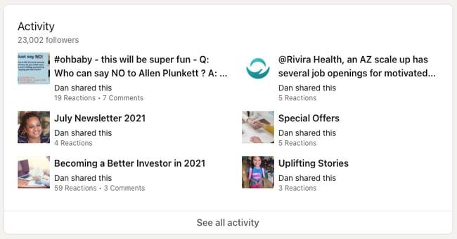 Activity section on a LinkedIn profile