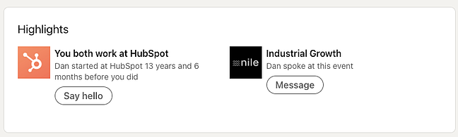 Highlights section on a LinkedIn profile