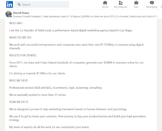 Linkedin Summary Example from Darrell Evans: Modified 5Ws and an H Format