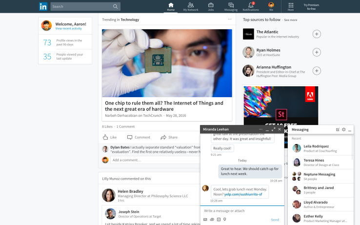 Linkedin chat-like messaging from the newsfeed