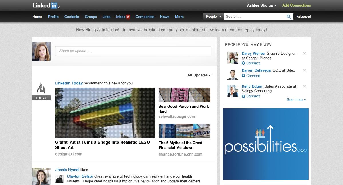 Old LinkedIn homepage