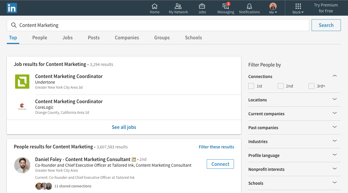 linkedin search for content marketing