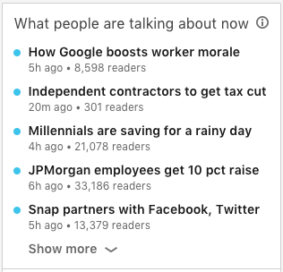 LinkedIn trending news topics