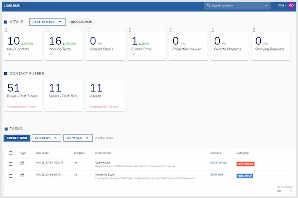LionDesk real estate CRM in dashboard view with tasks and vital metrics