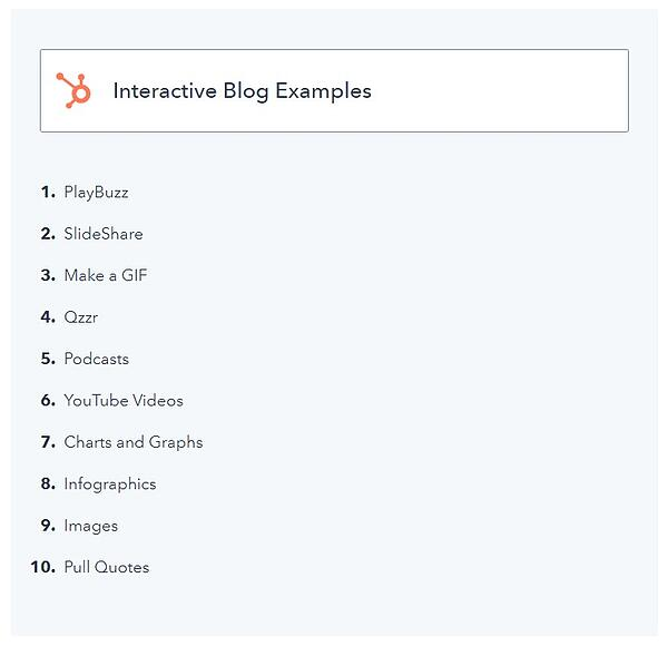 "example of a listicle blog post with the title of the list ""interactive blog post examples"" and list items beneath it"