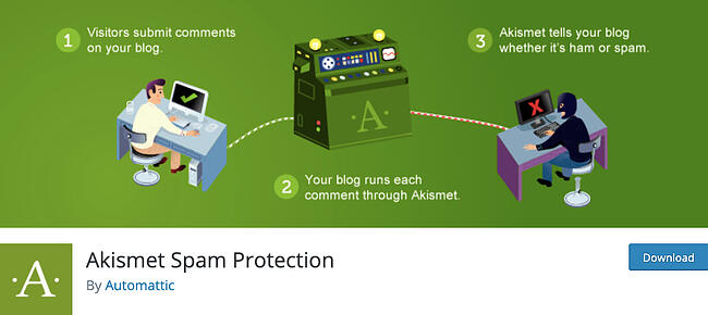 listing page of Akismet Spam Protection plugin for WordPRess