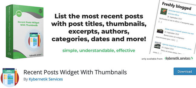 listing page of Recent Posts Widget with Thumbnails plugin for WordPress