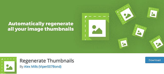 listing page of Regenerate Thumbnails plugin for WordPress