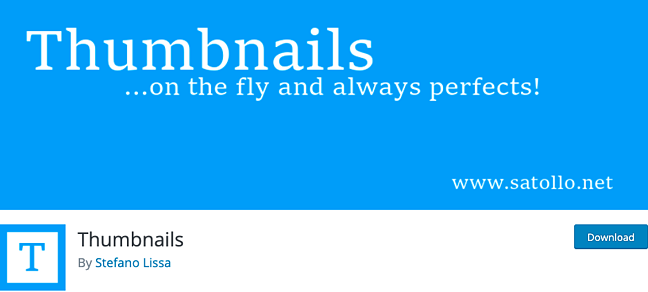 listing page of Thumbnails plugin for WordPress