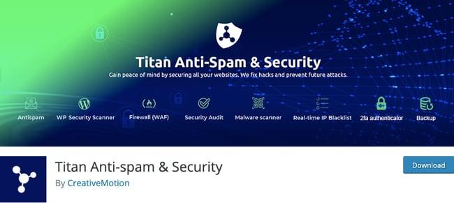 listing page of Titan Anti-Spam & Security plugin for WordPress