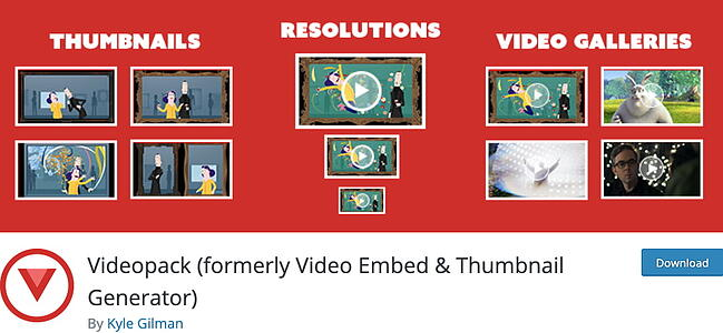 listing page of WordPress thumbnail plugin  Videopack
