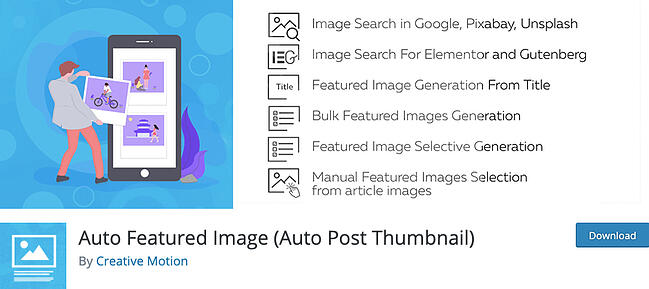 listing page of WordPress thumbnail plugin Auto Featured Image