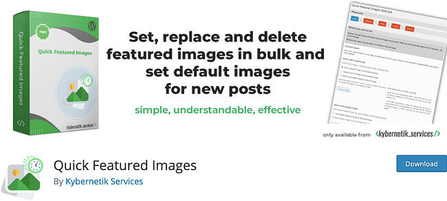listing page of WordPress thumbnail plugin Quick Featured Images