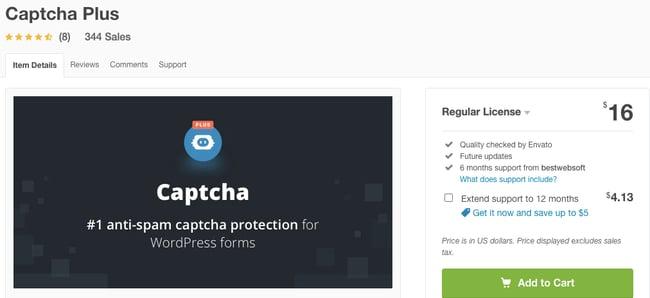 listing page of anti-spam Captcha Plus plugin for WordPress