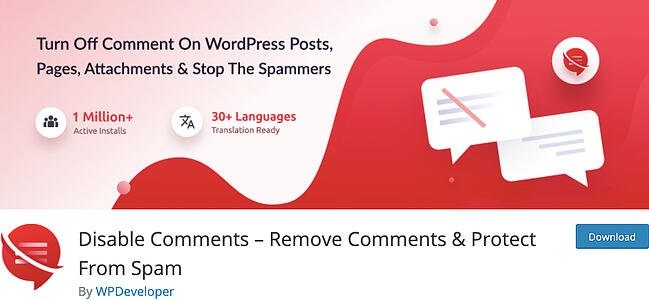 listing page of anti-spam Disable Comments plugin for WordPress
