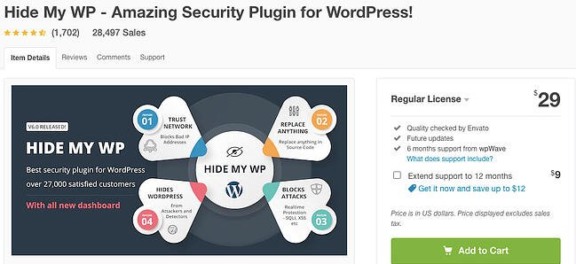listing page of anti-spam Hide My WP plugin for WordPress