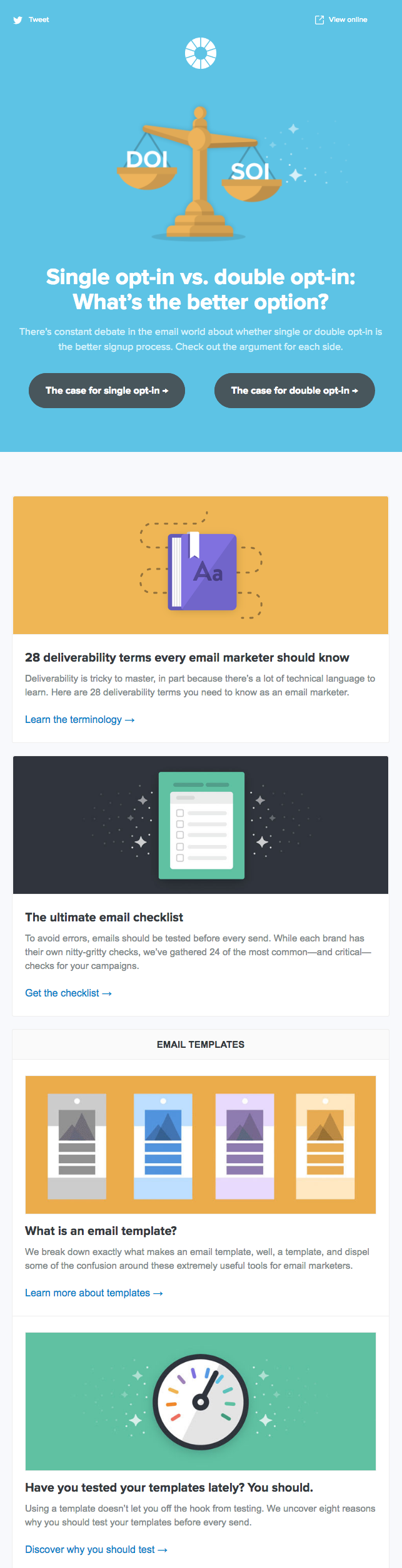 Email newsletter example design with blogs and templates by Litmus