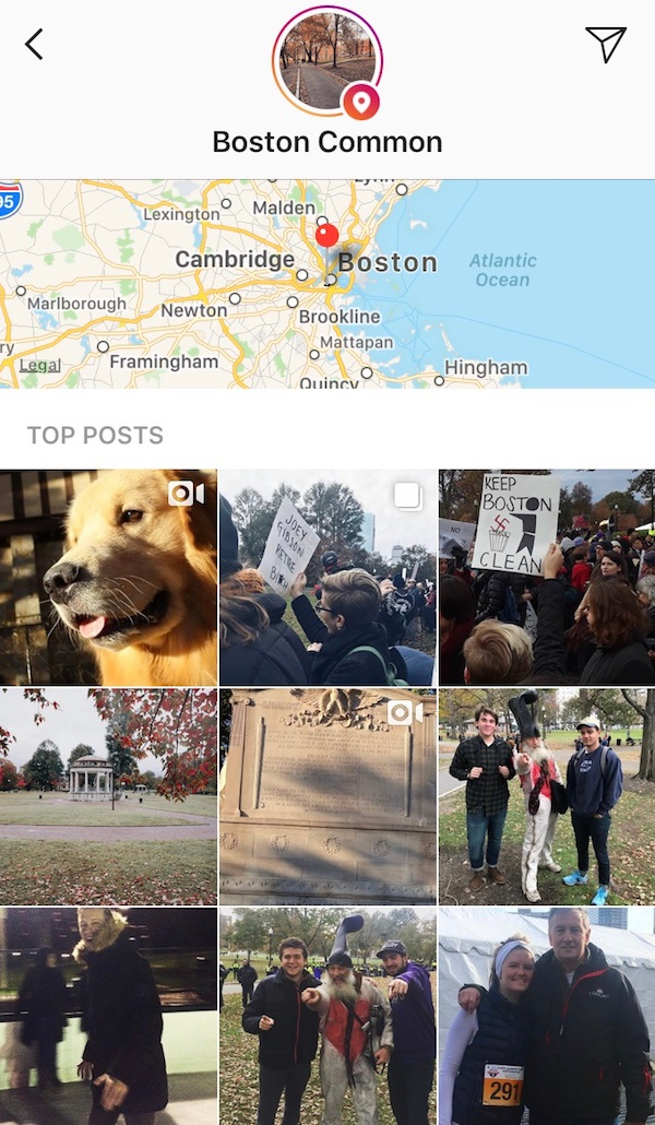 Instagram Stories posted with the location Boston Common