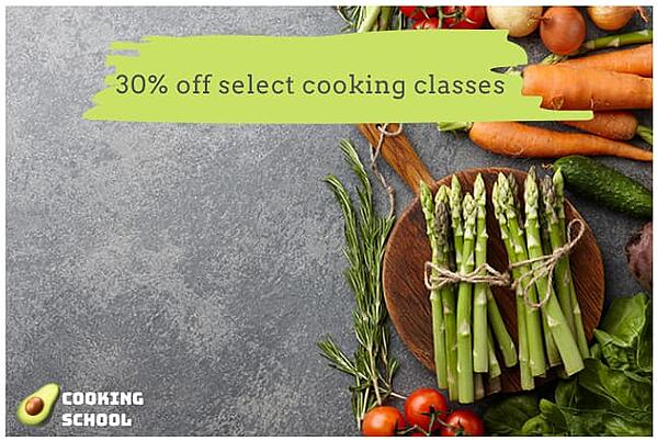 "Facebook ad from ""Cooking School"" with minimal text overlay."