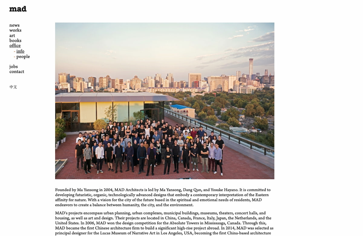 Company profile example: MAD Architects