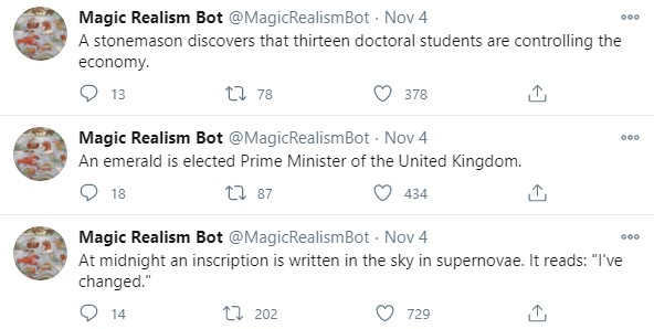 Magic Realism Bot's microblog on Twitter