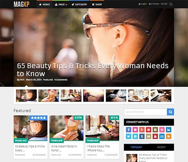 Homepage demo of WordPress theme MagXP