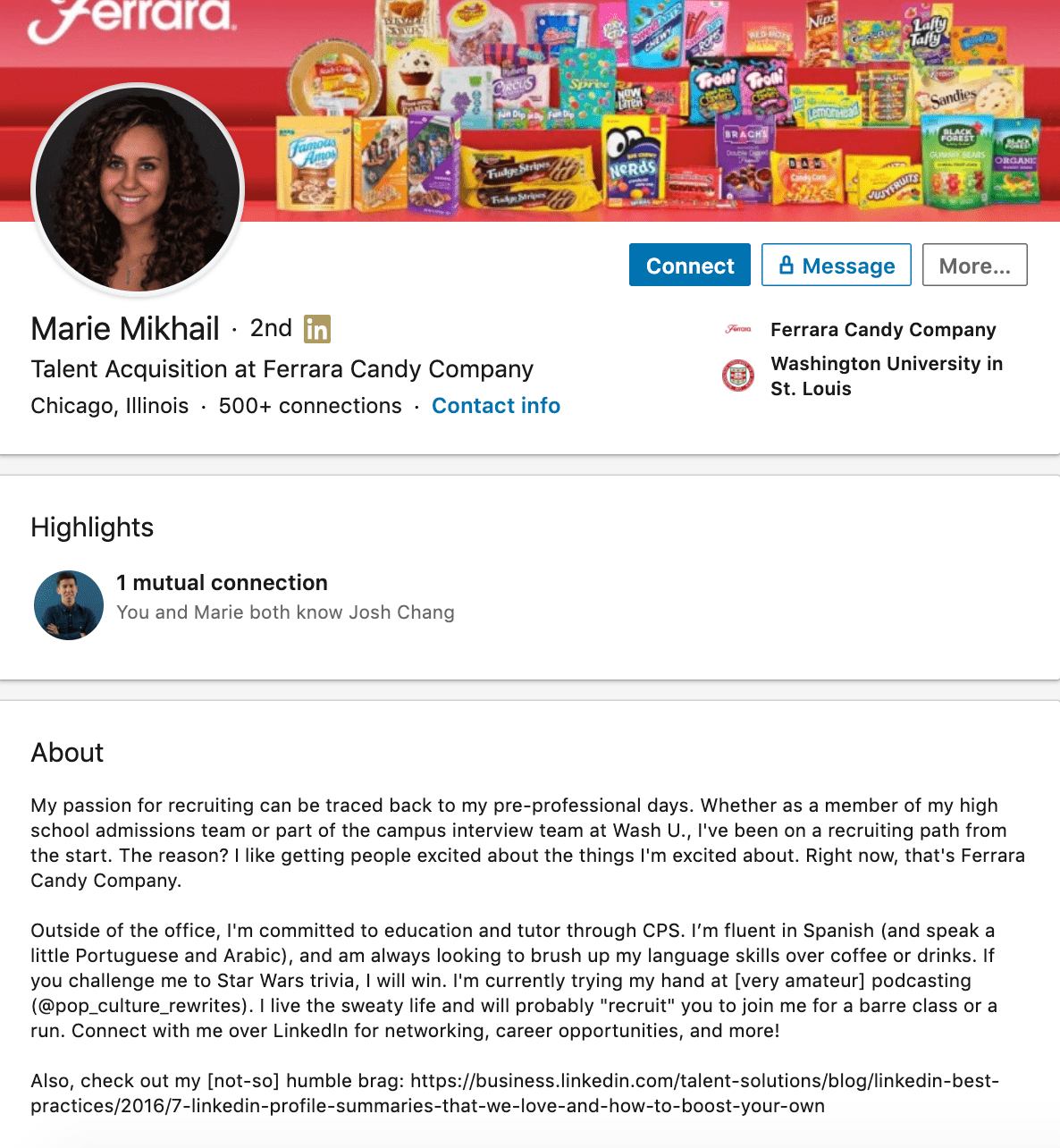 Marie Mikhail's professional bio on LinkedIn