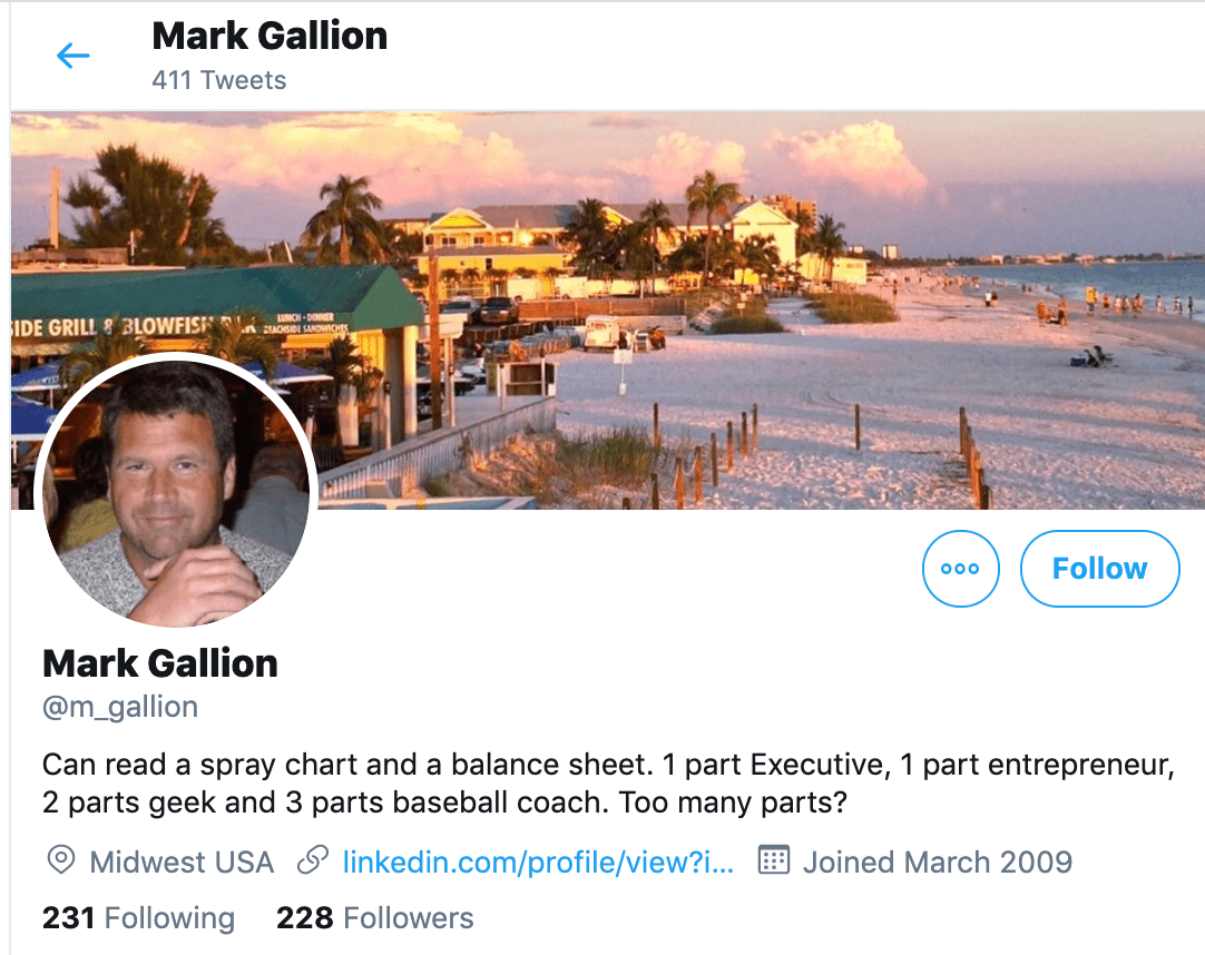 mark gallion professional bio on twitter