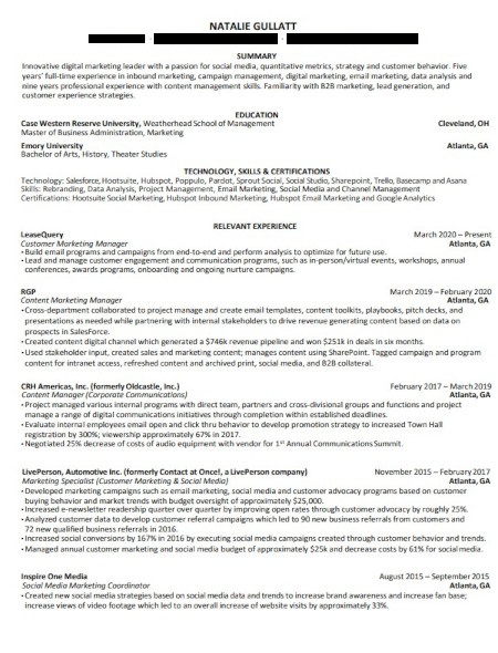 Marketing Resume Example: Natalie Gullatt
