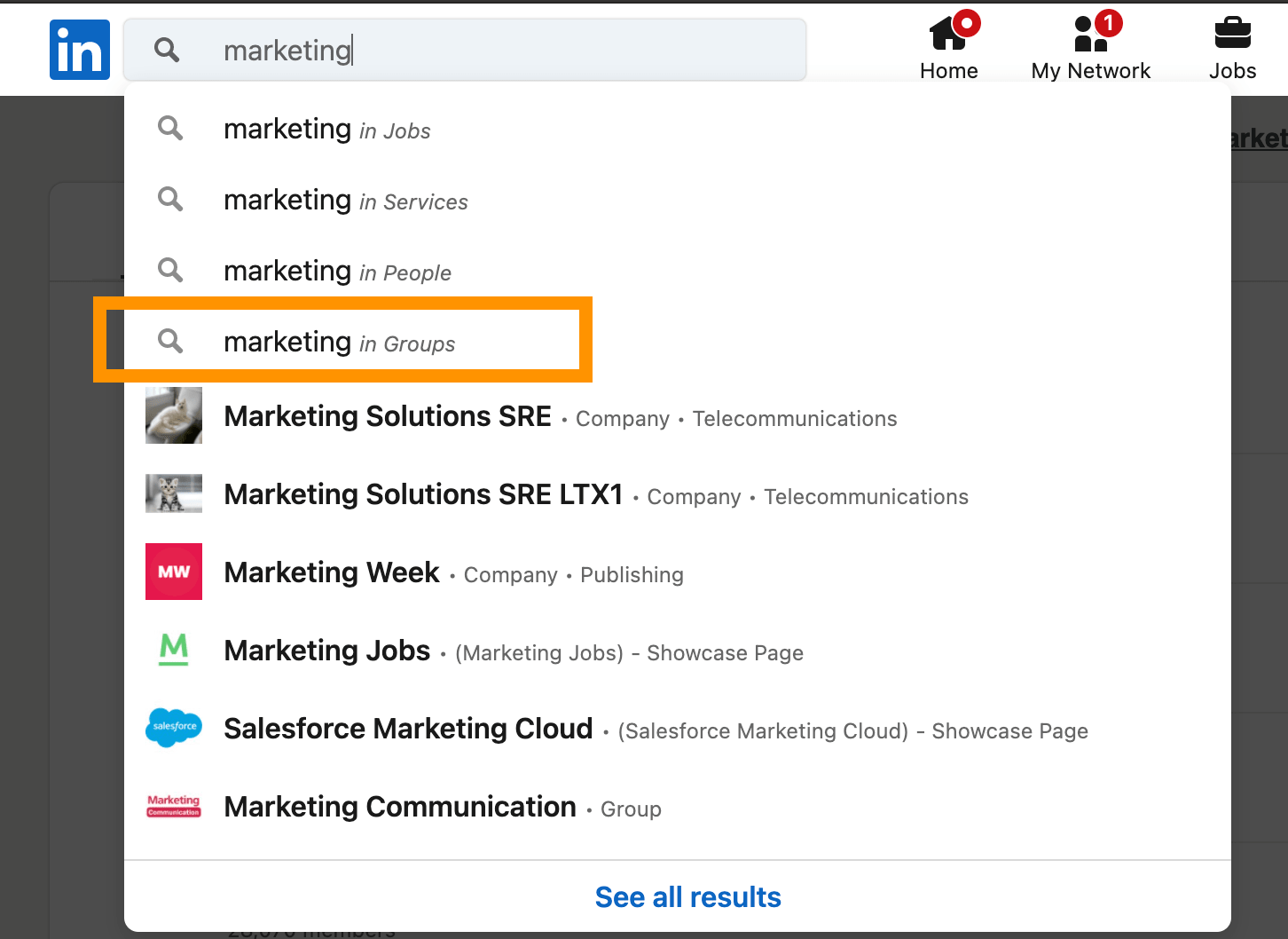 Here's how to find a marketing group on the Linkedin search bar