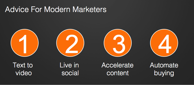 Advice for modern marketers: Text to video, Live in social, Accelerate content, Automate buying