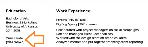 marketing resume education section with gpa listed