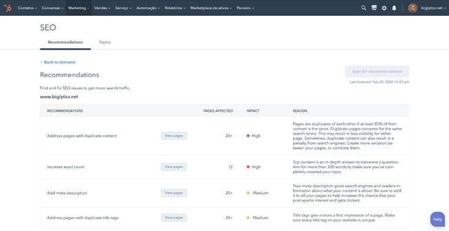 Marketing tech SEO tool from HubSpot
