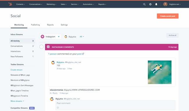Marketing tech social media management tool from HubSpot