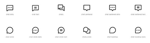 phosphor icons unfilled outlined black chat icons