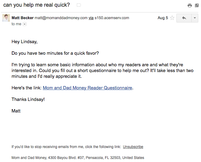 """Email Marketing Campaign Example: Mom and Dad Money - """"can you help me real quick?"""""""