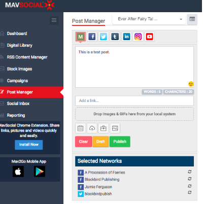 mavsocial dashboard example