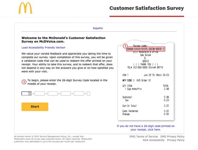 McDonalds customer satisfaction survey