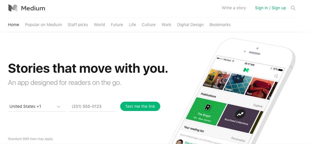 Medium homepage web design