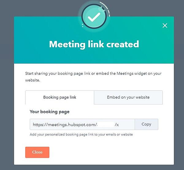 screenshot of meeting link created in hubspot