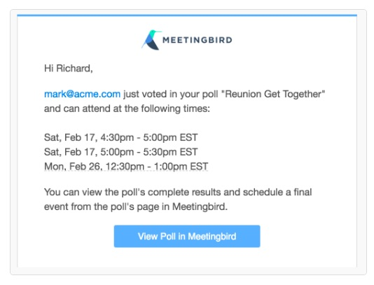 Meetingbird scheduling poll - confirmation sent to meeting host after attendee accepted their invitation