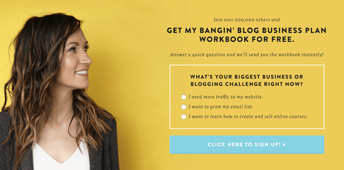 Melyssa Griffin homepage web design with yellow landing page and blue CTA button