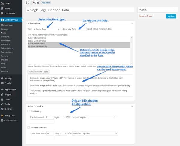 sample admin panel for wordpress membership tier setup