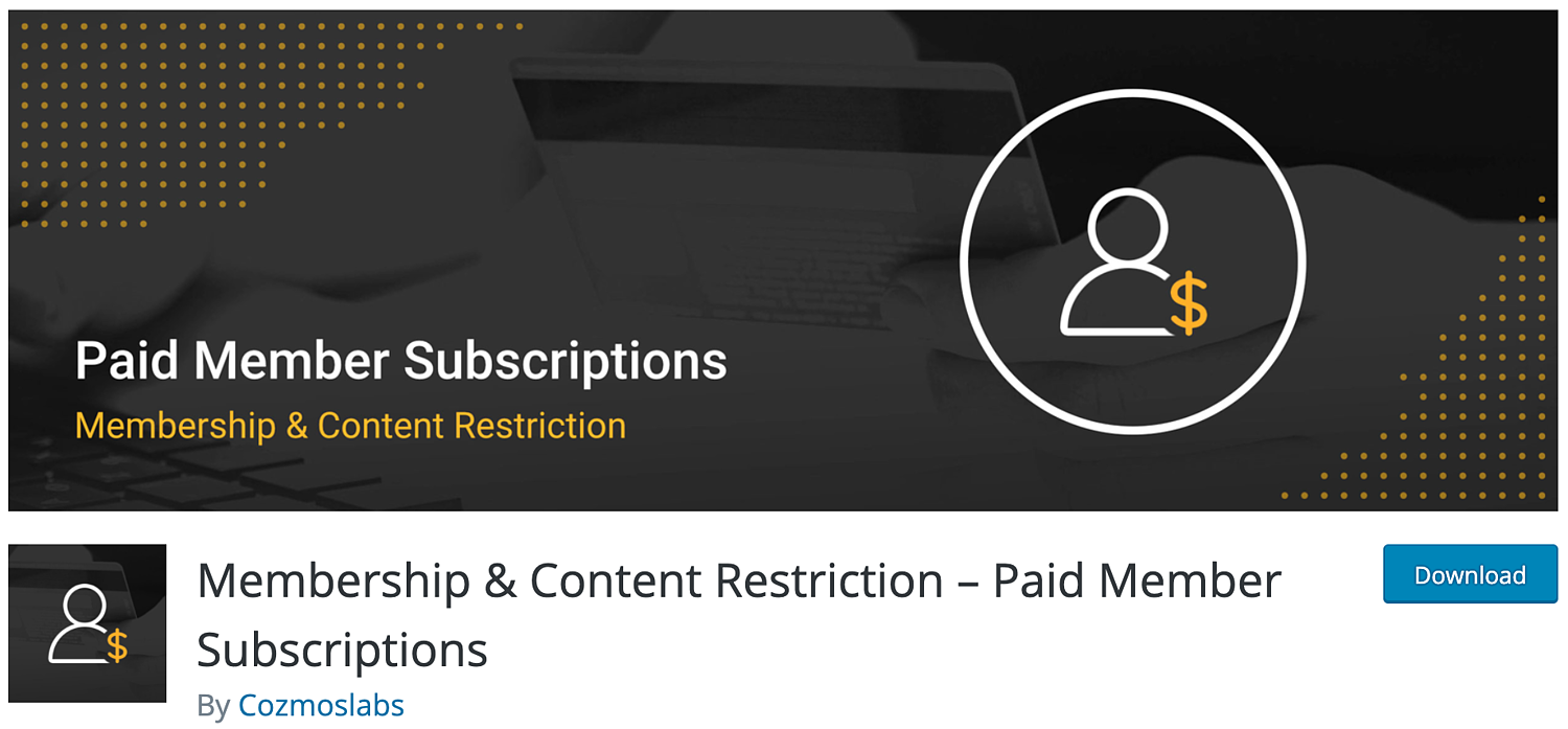 download page for the WordPress membership plugin, Membership and Content Restriction