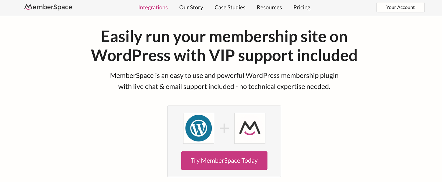 homepage for the WordPress membership plugin Memberspace