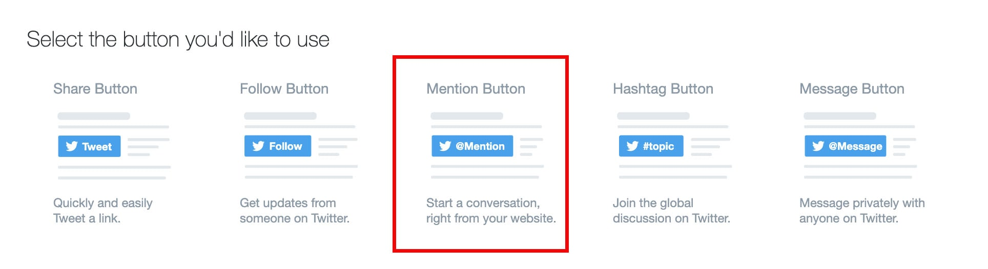 mention button on twitter's developer website