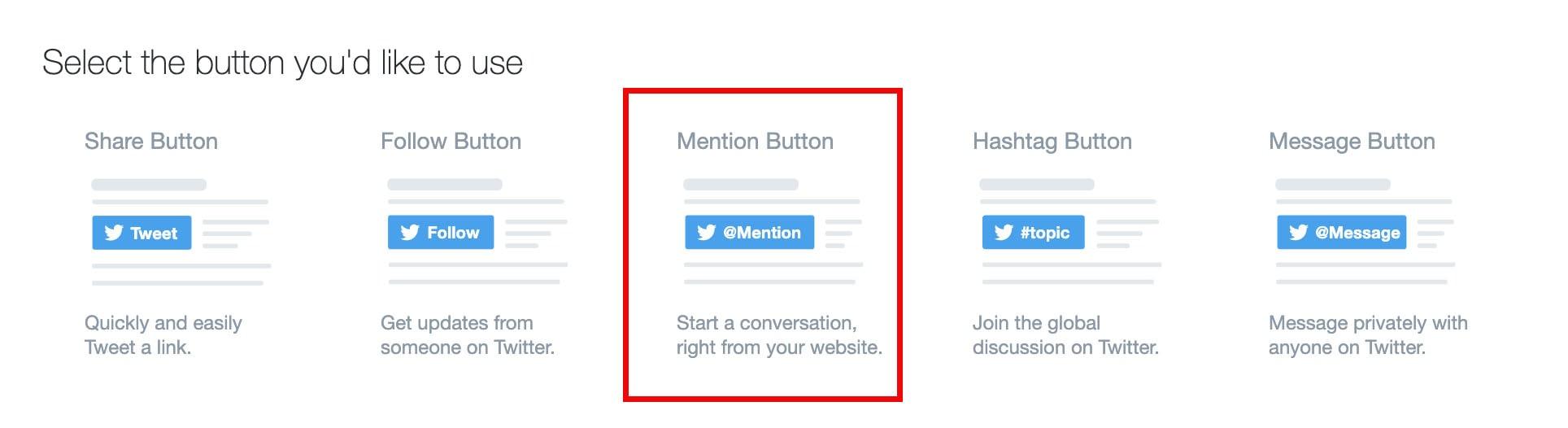 mention button on twitter's developer website