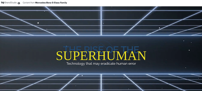 Native advertising example by Mercedes-Benz called The Rise of the Superhuman